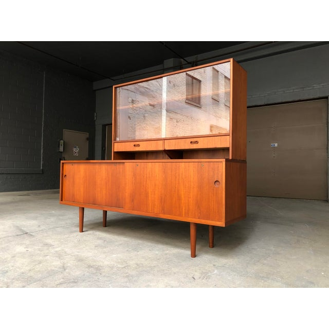 Contemporary Hans Wegner for Ry Møbler Teak Sideboard Credenza With Hutch - Mid Century Danish Modern Teak China Cabinet Glass Display Case For Sale - Image 3 of 13