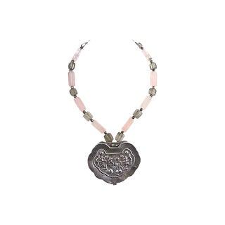 Asian Silver & Quartz Necklace For Sale