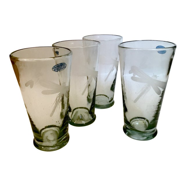 Mariposa Handblown Highball Glasses With Etched Dragonfly and Bumblebee - Set of 4 For Sale