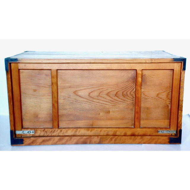 Antique Japanese Wooden Tansu Box For Sale - Image 4 of 5