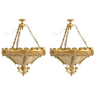 Pair of Louis XVI Style Gilt Bronze Louis XVI Style Beaded Chandeliers For Sale