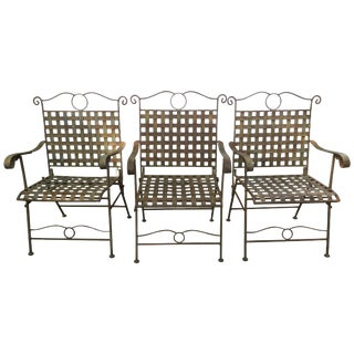Set of Three Handsome Vintage Iron Armchairs For Sale