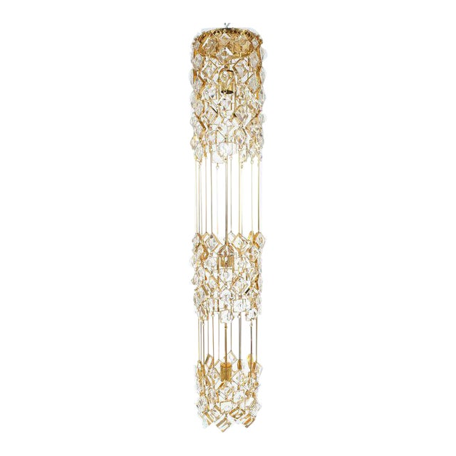 Golden Brass and Crystal Column Chandelier Lamp by Palwa, 1960 For Sale