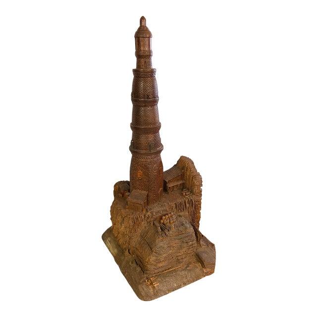 Lighthouse + Village Wood Carved Sculpture For Sale
