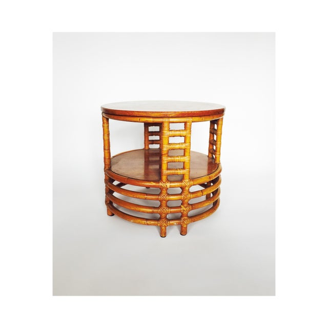 Vintage Round Bamboo Rattan Side Table - Image 3 of 5