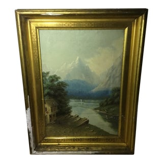 Early 19th Century Antique Swiss Landscape Oil Painting For Sale