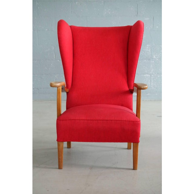 Mid-Century Modern Danish Midcentury Wingback Lounge Chair Attributed to Fritz Hansen For Sale - Image 3 of 9