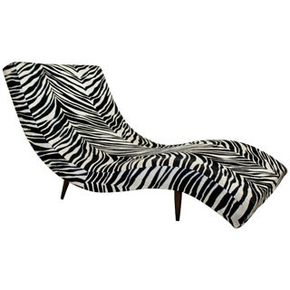Mid-Century Modern Adrian Pearsall Craft Wave Form Zebra Chaise Lounge Chair For Sale