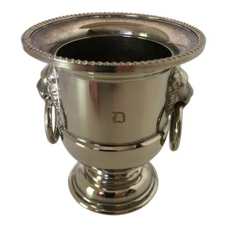 Italian Silver Plate Miniature Champagne Style Bucket Toothpick Holder With Drop Ring Lion Head Handles Made by Eales For Sale
