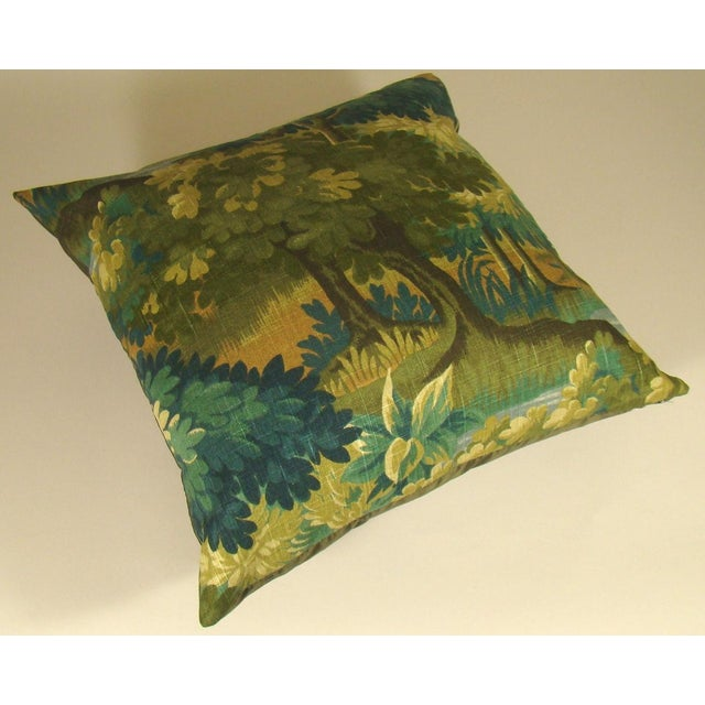Contemporary Verdure Print Linen Large Pillow Cover For Sale - Image 3 of 10