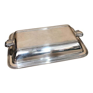 1930s English Art Deco Mappin & Webb Silver Plated Entree Dish For Sale