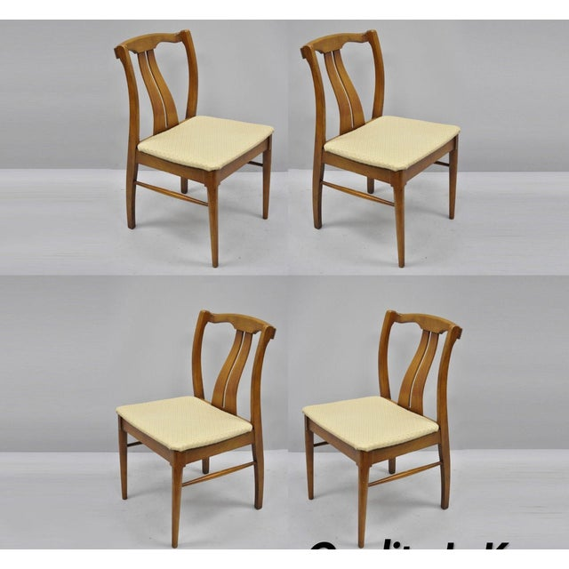 Vintage Mid-Century Modern Curved Back Walnut Dining Chairs - Set of 4 For Sale - Image 12 of 12