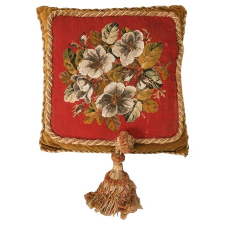 Circa 1900 Victorian English Beaded and Needlepoint Pillow For Sale