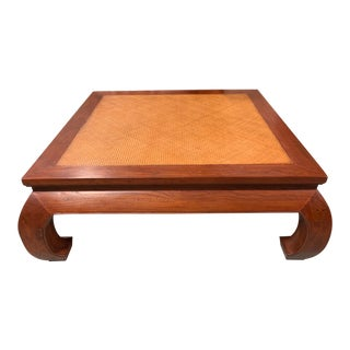Ming Walnut Cane Top Coffee Table For Sale