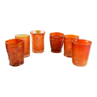 Mismatched Marigold Carnival Glass Tumblers - Set of 6 For Sale
