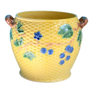 Vintage Tiffany & Co. Blonde Basket Weave Majolica Cache Pot For Sale
