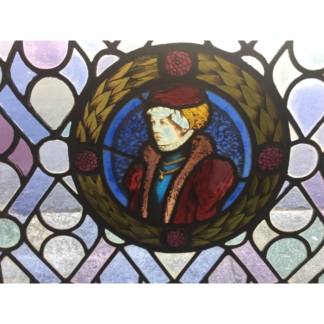 Blue Antique Gothic Stained Glass Panels- a Pair For Sale - Image 8 of 12