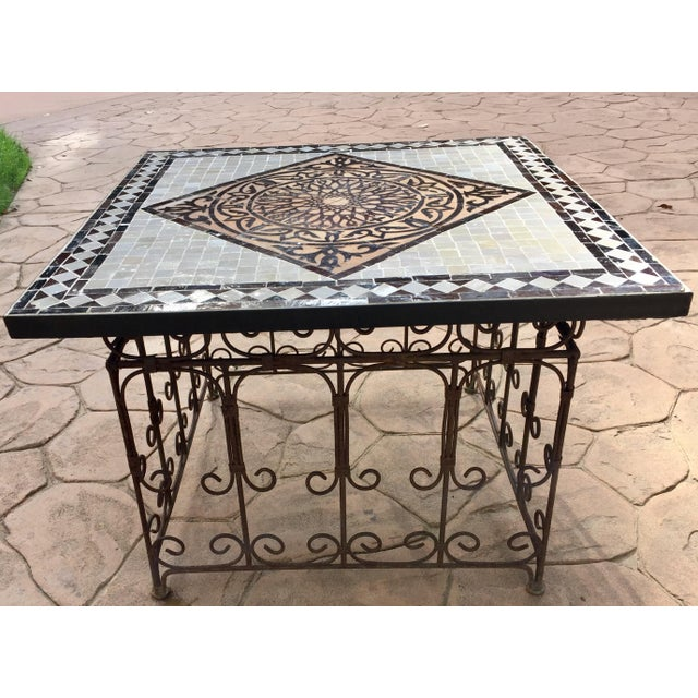 Metal Moroccan Square Brown and Grey Mosaic Tile Coffee Table on Iron Base For Sale - Image 7 of 12