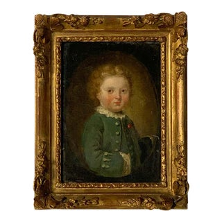 Late 18th Century Oil on Canvas Miniature Portrait of a Boy For Sale