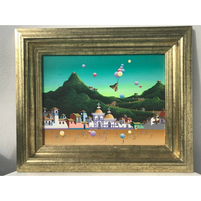 A whimsical colorful landscape in the surrealist style. On the back is the title of painting as well as artist. This is...