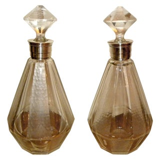 Pair of French Art Deco Glass Decanters For Sale