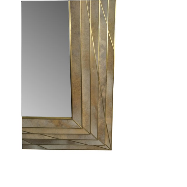 Modern Dueling Bronze and Parchment Mirror by MarGian Studio For Sale - Image 3 of 4