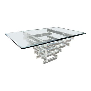 On Sale- Lucite and Glass Dining Table Attributed to Charles Hollis Jones For Sale