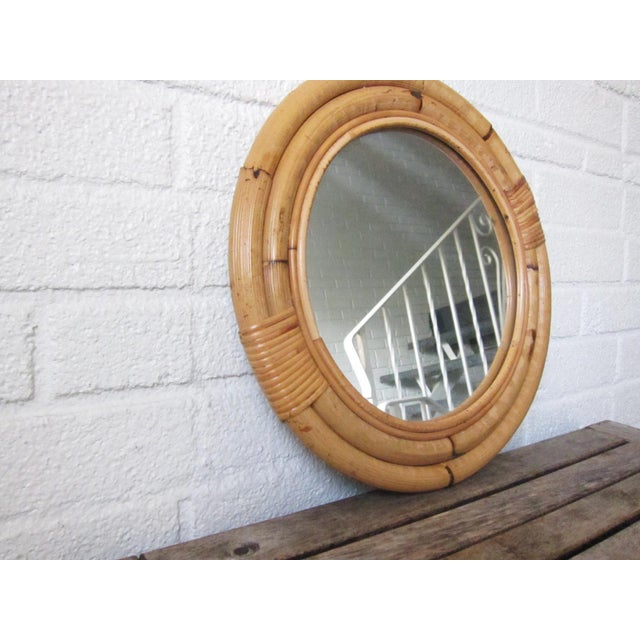 1970s Vintage Bamboo Circle Rattan Wall Mirror For Sale - Image 4 of 8