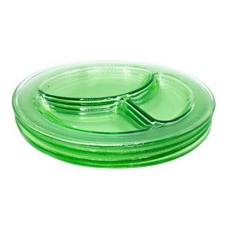 Vintage Uranium Vaseline Green Depression Glass Divided Grill Dinner Plates - 4 Pieces For Sale