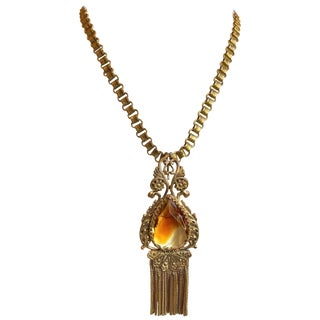 Early 1900s Book Chain and Topaz Faceted Glass Pendant/Brooch Necklace For Sale