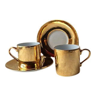 Mid-Century Gilt Glazed Porcelain Coffee Cups - a Pair For Sale