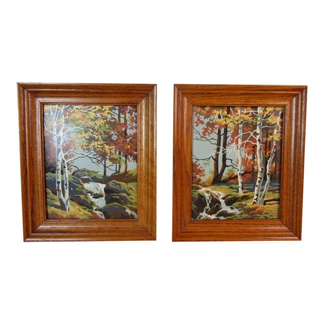 Vintage Mid Century Paint By Number Landscape Paintings A Pair
