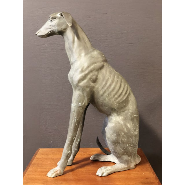 Industrial Large Vintage Brass GreyHound Statue For Sale - Image 3 of 7