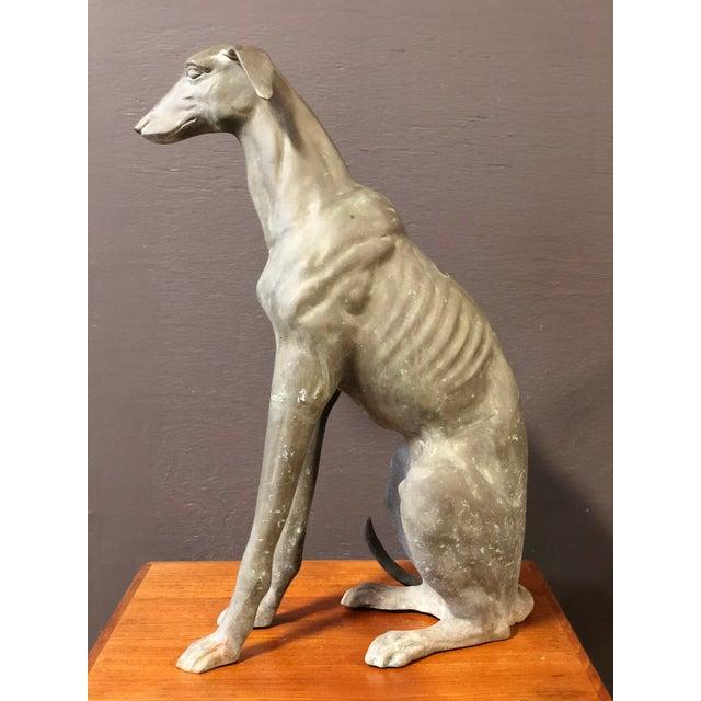Modern Large Vintage Brass GreyHound Statue For Sale - Image 3 of 7