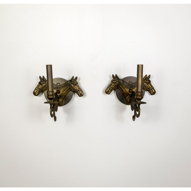 Brass Horse Candelabra Sconces in Oil Rubbed Bronze, Pair For Sale - Image 11 of 11
