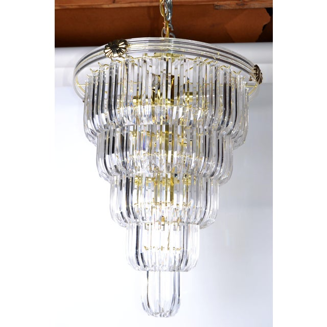 Brass & Lucite Chandelier - Image 9 of 9