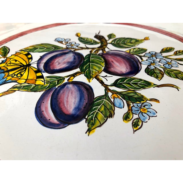 """20th Century Italian 21"""" Pair Ceramic Wall Plates/Chargers Decorative Oranges and Plums For Sale In San Francisco - Image 6 of 12"""