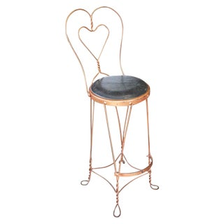Black Vinyl Copper Counter Height Ice Cream Chair For Sale