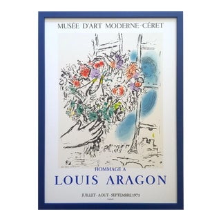 "Marc Chagall Vintage 1971 Mourlot Lithograph Print Framed French Exhibition Poster "" Offering of Flowers "" 1964 For Sale"