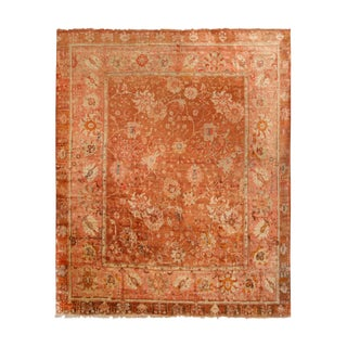 Antique Oushak Salmon and Copper Geometric-Floral Wool Rug For Sale