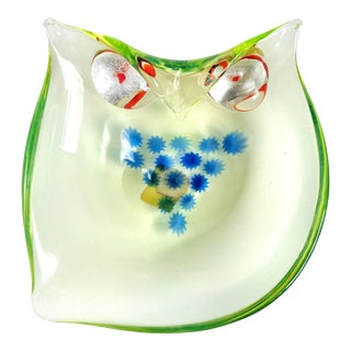 Cenedese Murano Uranium Murrines Silver Gold Leaf Italian Art Glass Owl Bowl For Sale