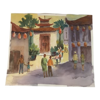 Original Unframed Watercolor Chinatown Scene Painting For Sale