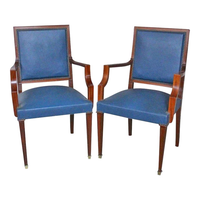 Pair of French, 1940s Mahogany and Leather Armchairs For Sale