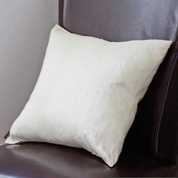 Ivory Raw Silk Square Pillow Cover - Image 2 of 4