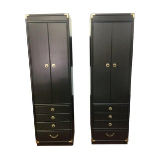 Vintage Black Campaign Cabinets By Drexel - A Pair