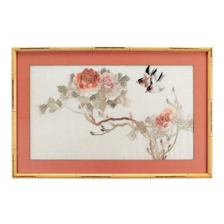 Mid-Century Framed Fine Silk Embroidery For Sale