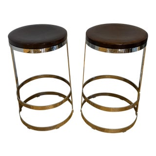Modern Contemporary Wood and Stainless Counter Stools- a Pair For Sale