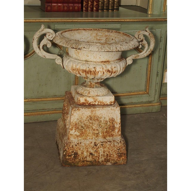 French Pair of Antique Cast Iron Vases on Pedestals From Besancon France, Circa 1915 For Sale - Image 3 of 13