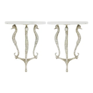 Vintage Ironies Seahorse Silver-Gilt Side Tables W/ Cast Stone Tops For Sale
