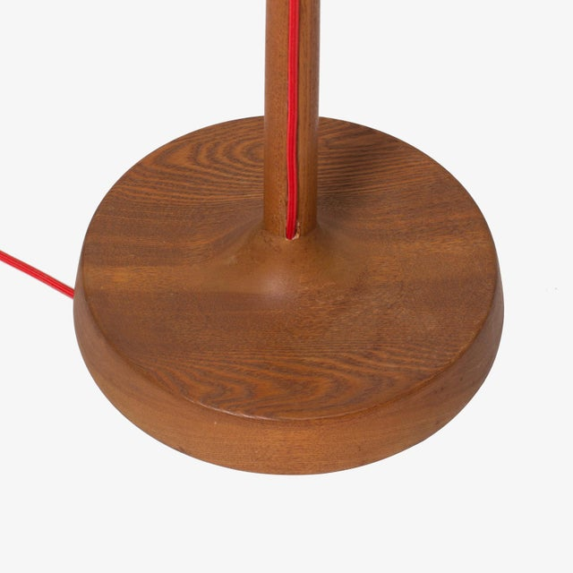 Scandinavian oak floor lamp with exposed cord and burlap shade For Sale - Image 4 of 4